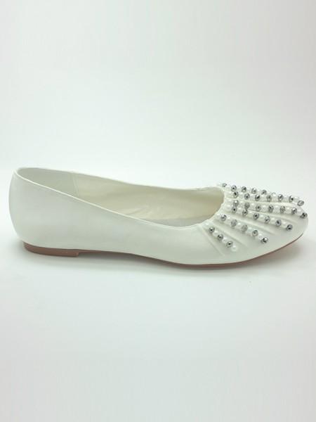 Donna Raso punta chiusa Heel piatto Perline Scarpe da sposa