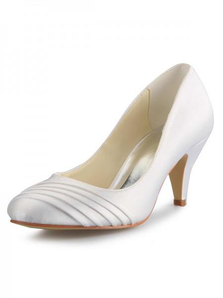 Donna tacco a cono Raso punta chiusa bianca Scarpe da sposa