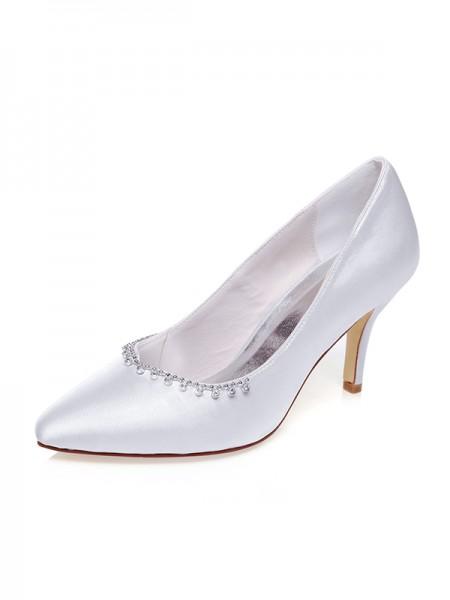 Donna Raso punta chiusa Perline tacco a spillo Scarpe da sposa