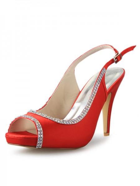 Donna Raso Piattaforme tacco a cono Peep Toe Con Strass Red Scarpe da sposa