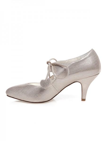 Donna PU punta chiusa Pizzo-Up Spool Heel Scarpe da sposa