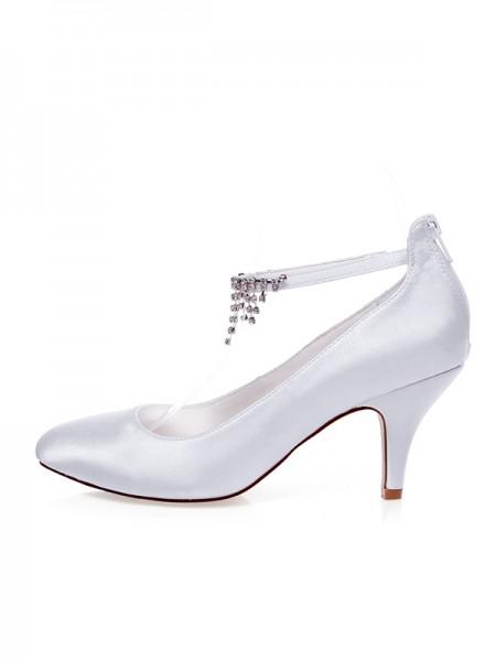 Donna Raso punta chiusa Perline Spool Heel Scarpe da sposa