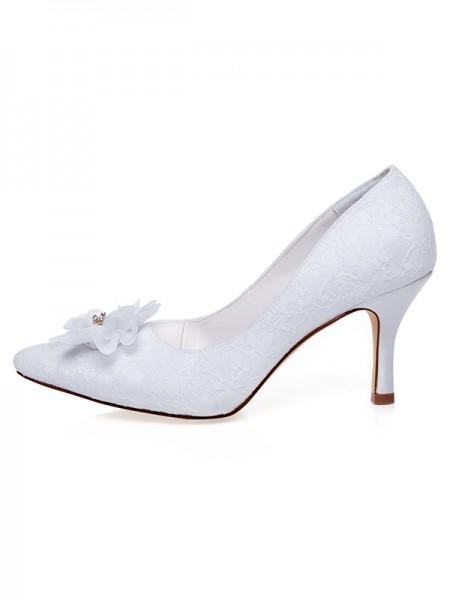 Donna Raso punta chiusa Flower Spool Heel Scarpe da sposa
