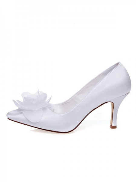 Donna Raso punta chiusa Spool Heel Flower Scarpe da sposa