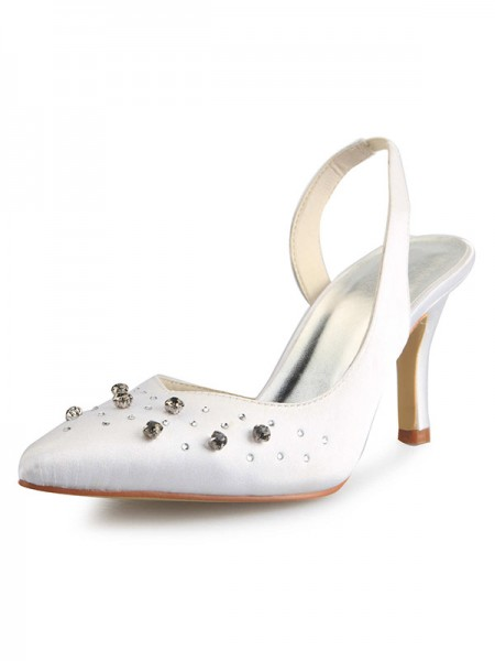 Donna Slingbacks tacco a spillo punta chiusa Raso Con Strass bianca Scarpe da sposa