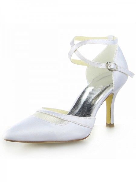 Donna bianca Raso punta chiusa Spool Heel Con Buckle bianca Scarpe da sposa