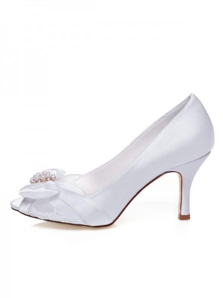 Donna Raso Peep Toe tacco a spillo Fiocco Scarpe da sposa