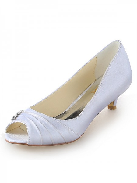 Donna Raso Peep Toe Kitten Heel Con Strass bianca Scarpe da sposa