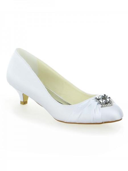 Donna Raso Pizzo Piattaforme punta chiusa Con Fiocco Kitten Heel bianca Scarpe da sposa