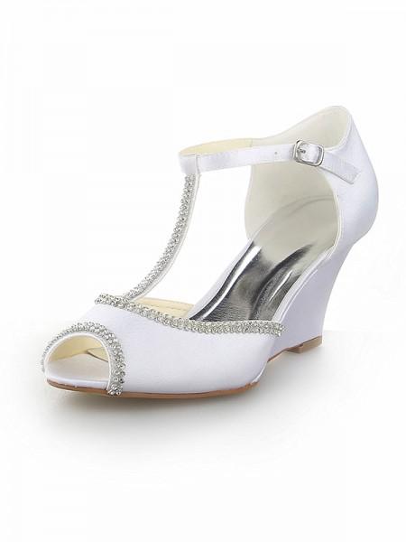 Donna Peep Toe T-Strap Con Strass Raso Zeppa bianca Scarpe da sposa