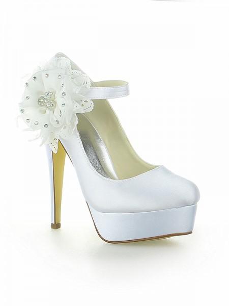 Donna Raso Piattaforme punta chiusa Con Flower tacco a spillo bianca Scarpe da sposa