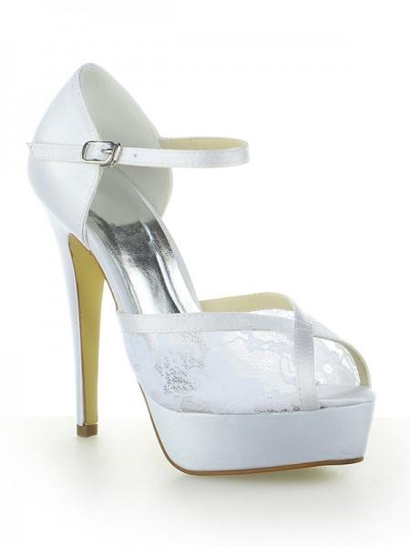 Donna Raso Pizzo Piattaforme Peep Toe Con Buckle tacco a spillo bianca Scarpe da sposa