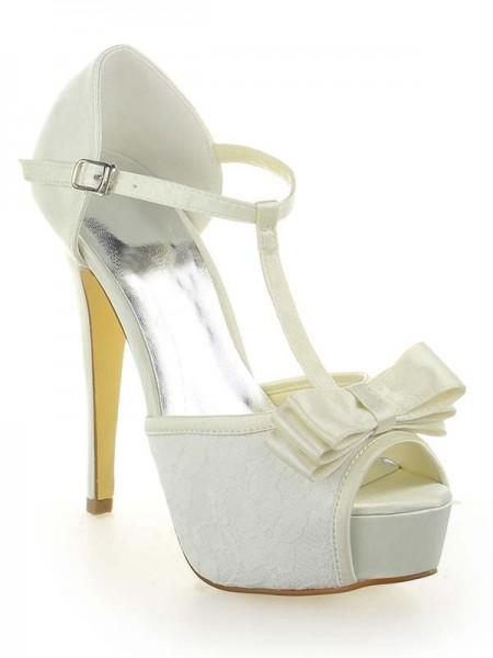 Donna Raso Pizzo Piattaforme Peep Toe Con Fiocco tacco a spillo bianca Scarpe da sposa