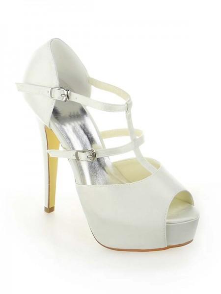 Donna Raso Piattaforme Peep Toe tacco a spillo Con Buckle bianca Scarpe da sposa