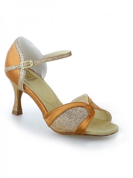 Donna Raso tacco a spillo Peep Toe Buckle Sparkling Glitter Scarpe da ballo