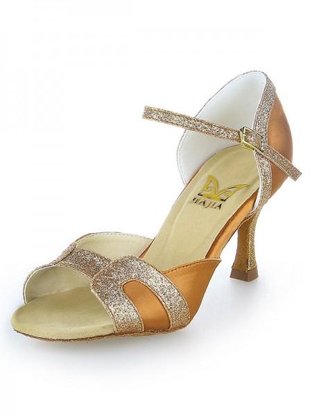 Donna tacco a spillo Raso Peep Toe Sparkling Glitter Scarpe da ballo