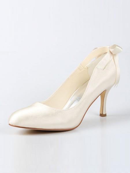 Donna Raso punta chiusa Spool Heel Con Fiocco Ivory Scarpe da sposa