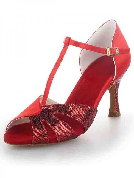 Donna T-Strap Peep Toe tacco a spillo Raso Sparkling Glitter Scarpe da ballo