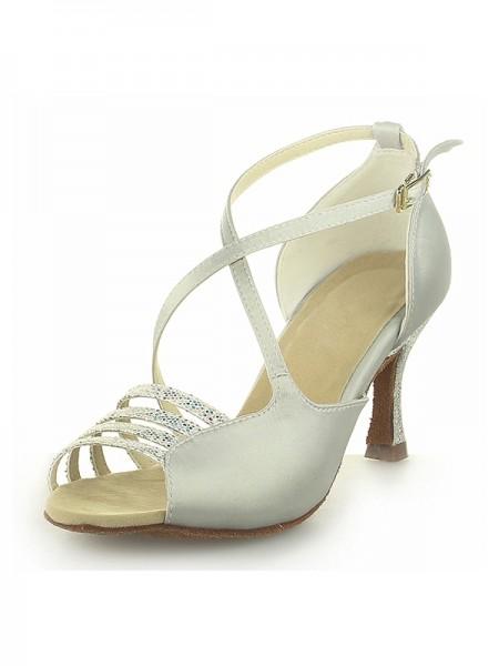 Donna Peep Toe Raso Spool Heel Con Buckle Ivory Scarpe da sposa