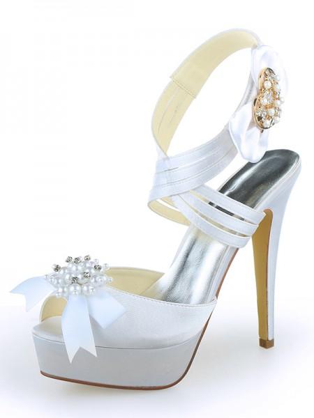 Donna Raso Peep Toe Piattaforme tacco a spillo Con Pearl bianca Scarpe da sposa