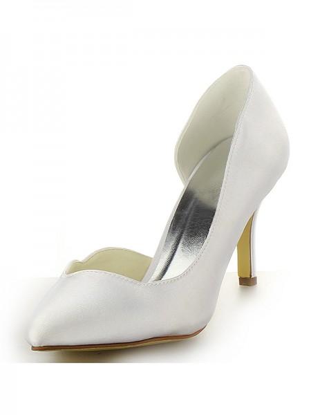 Donna Raso punta chiusa tacco a spillo bianca Scarpe da sposa