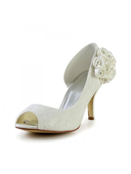 Donna Trendy tacco a spillo Raso Ivory Scarpe da sposa Con Flower
