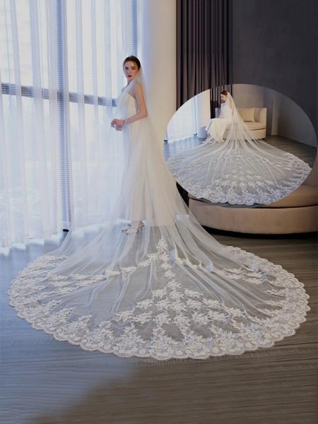 Elegant Tulle With Lace Long Wedding Veils