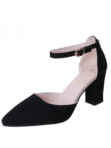 Women's Flock Chunky Heel Closed Toe sandali