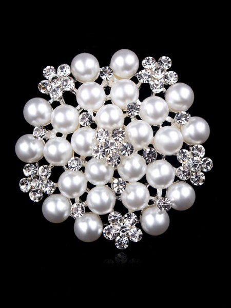 Attraente Lega With Strass/Imitation Pearl Le signore' Spilla