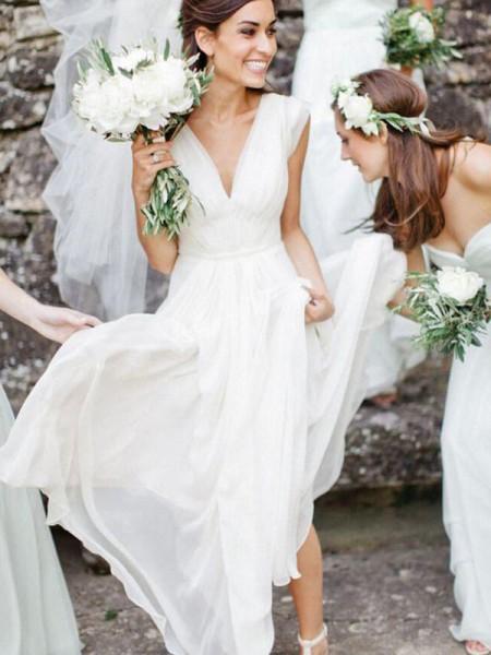 A-Line/Principessa Scollatura a V Senza maniche A terra Increspature Chiffona Abiti da Sposa