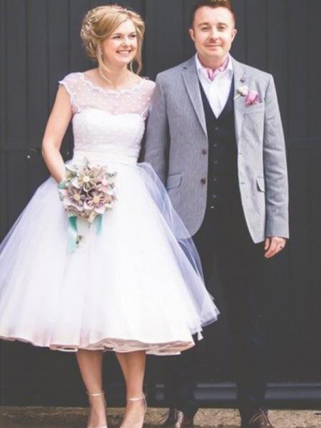 Palloncino Scollatura gioiello Senza maniche Al ginocchio Increspature Tyll Abiti da Sposa