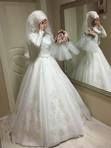 Palloncino Scollatura gioiello Maniche lunghe A terra Fiocco Tyll Abiti da Sposa