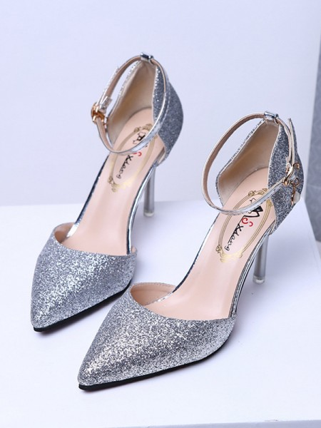 Women's Closed Toe Sparkling Glitter Stiletto Heel Tacchi alti