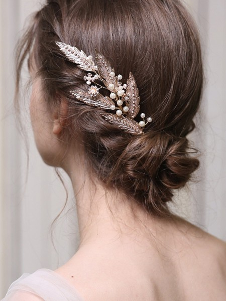 Elegante Lega Con Imitation Perla copricapo