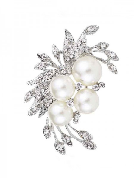 Flower Shaped Lega With Strass/Imitation Pearl Le signore' Spilla