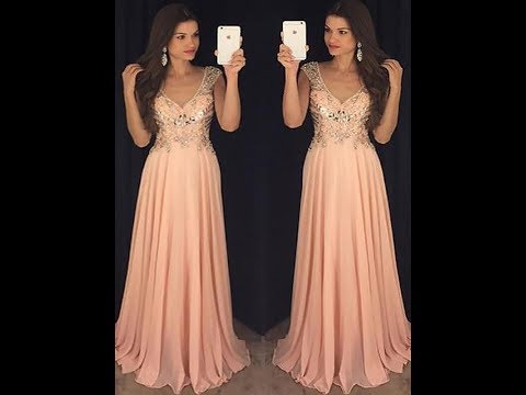 A-Line/Princess Chiffon Paillette Sleeveless V-neck Floor-Length Dresses